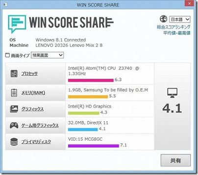 レノボ Miix 2 8のタブレット性能比較