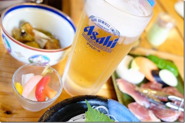 宇戸の庄の夕食・生ビール・小鉢