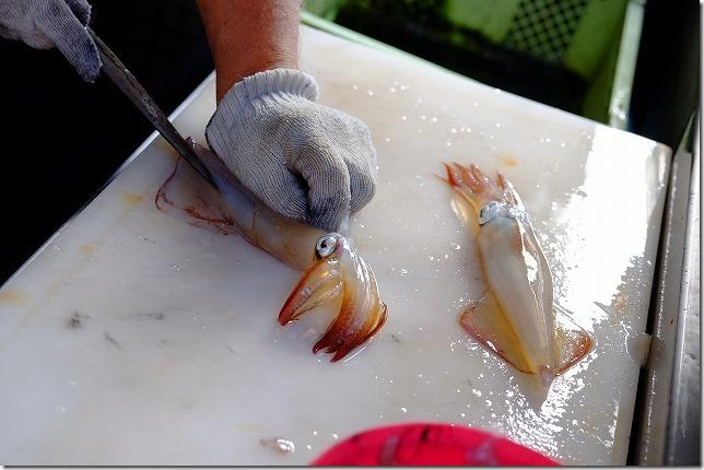 呼子加部島にある海上レストラン歳香亭のイカ捌き