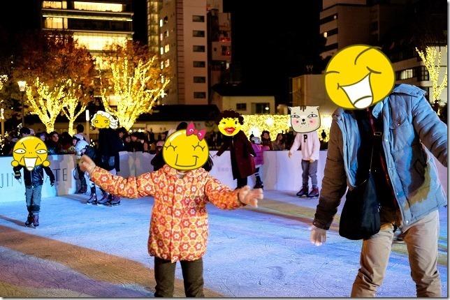 天神警固公園でアイススケート