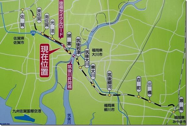 旧国鉄、佐賀線と徐福サイクリングロードの地図