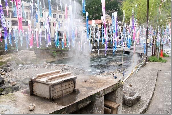 杖立温泉の無料の蒸し釜(共同釜)