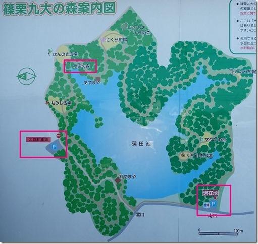 篠栗九大の森内の地図