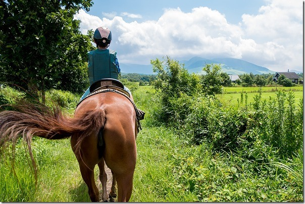 九重エルランチョグランデで子供の乗馬体験