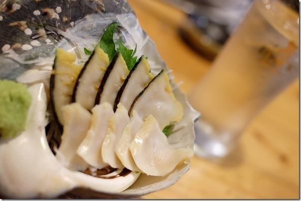 奄美、むちゃかなの夜光貝のお刺身
