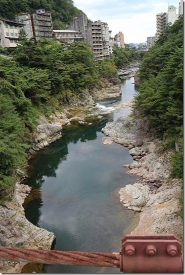 鬼怒川温泉 滝見橋 吊り橋からの景色