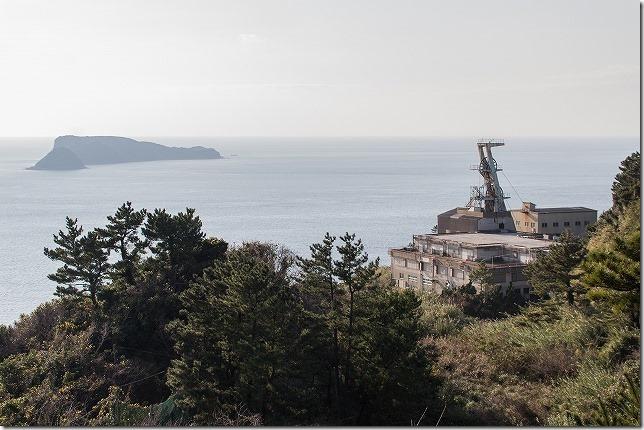 池島炭鉱 第2竪坑櫓と蟇島