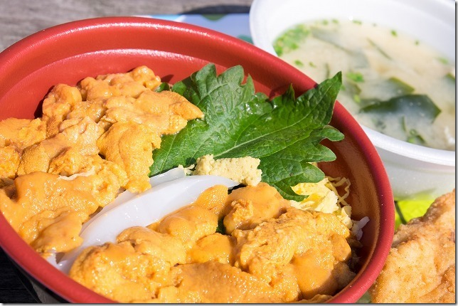 唐戸市場のウニ・イカ丼