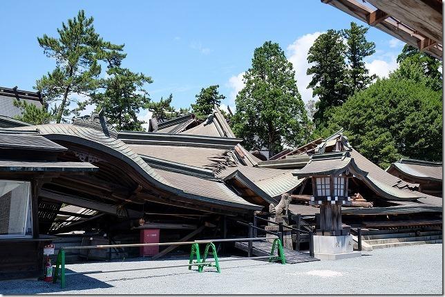 地震で崩壊した阿蘇神社