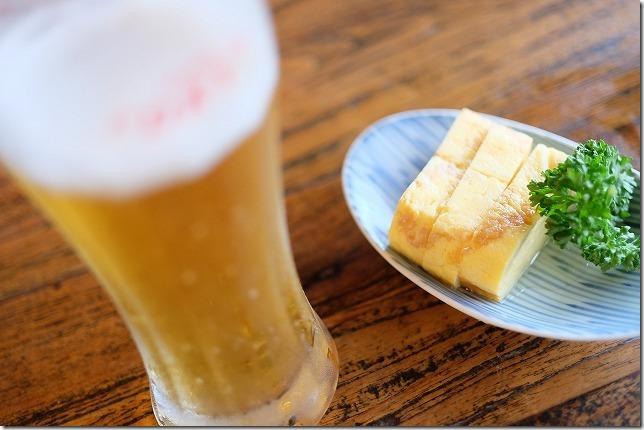 くじゅう虎乃湯のこはく食堂で生ビール