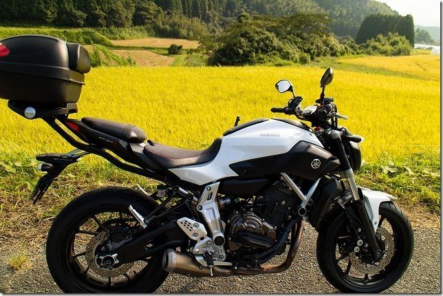 三瀬の稲穂とバイク