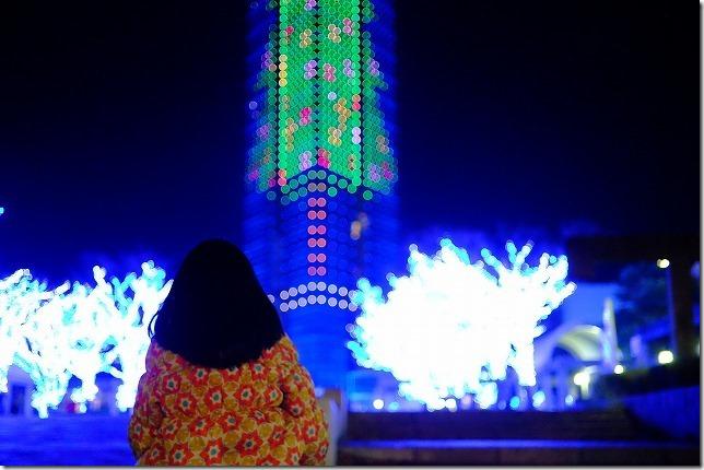 福岡タワーのイルミネーションと子供