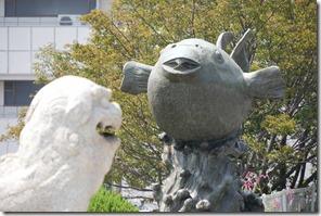 世界一のフグの像
