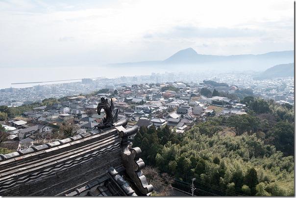 貴船城から高崎山や別府市街地を一望
