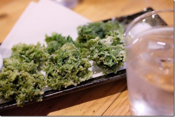 奄美、むちゃかなの生あおさの天ぷら