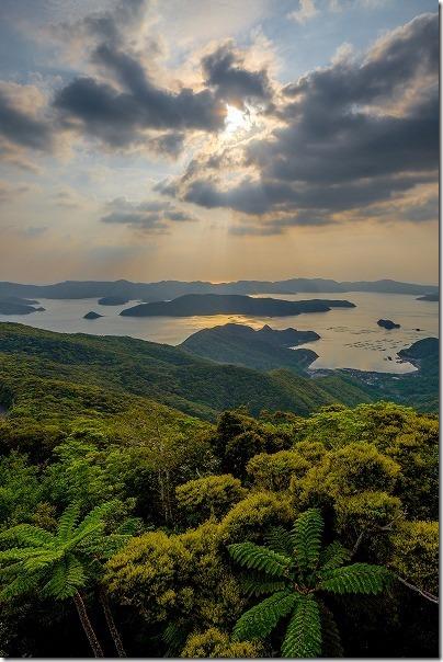 奄美大島、高知山展望台からの夕日