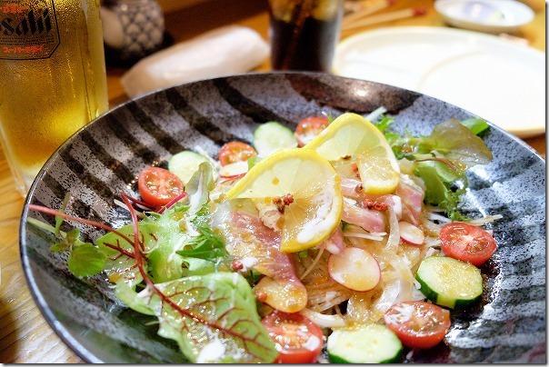 内牧温泉、ひろ勝の鯛のカルパッチョサラダ