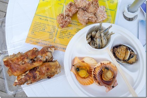 天草セット、アワビ+ヒオウギ貝2枚+キビナゴの唐揚げ