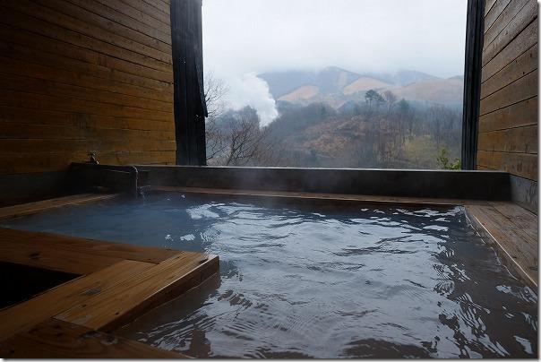 豊礼の湯の家族風呂からの眺め、冬
