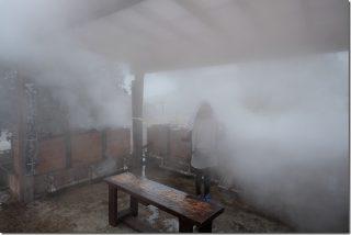 冬の豊礼の湯(ほうれいのゆ) 家族風呂と地獄蒸し(阿蘇郡小国町)