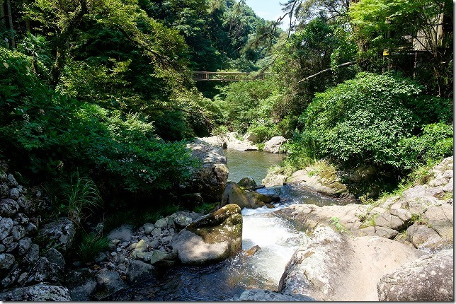 滝壺近くから渓流沿いの橋、見帰りの滝