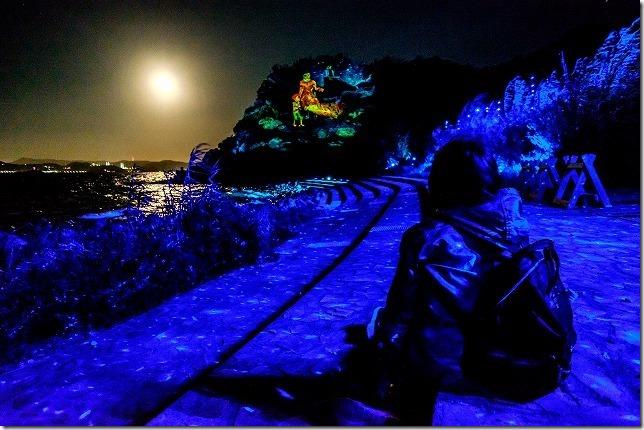 伊王島アイランドルミナ、海とプロジェクションマッピング