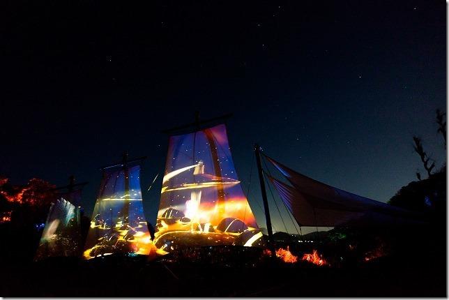 伊王島アイランドルミナ、帆船とプロジェクションマッピング