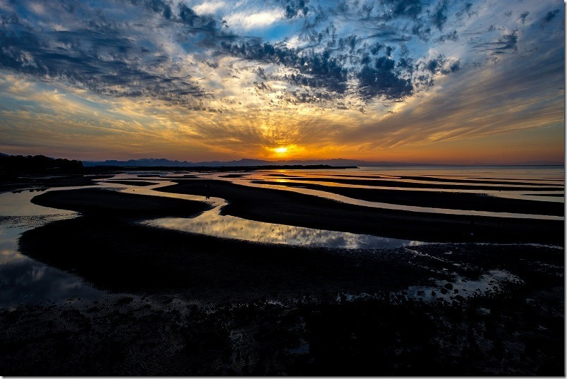 大分県豊後高田市、真玉海岸(またまかいがん)の夕日