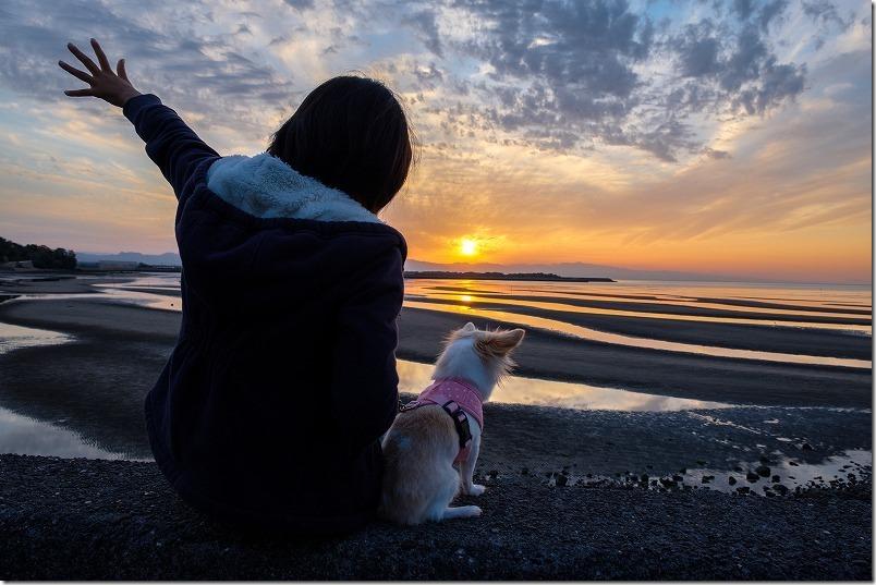 干潮の真玉海岸の夕日を子供と犬と
