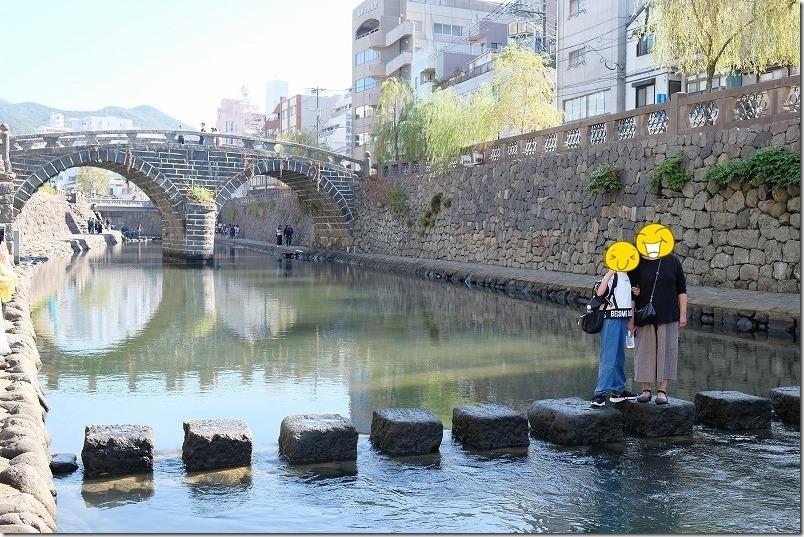 長崎、眼鏡橋の下の飛び石