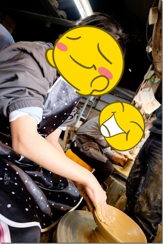 唐津,岸岳窯三帰庵で陶芸体験、子供