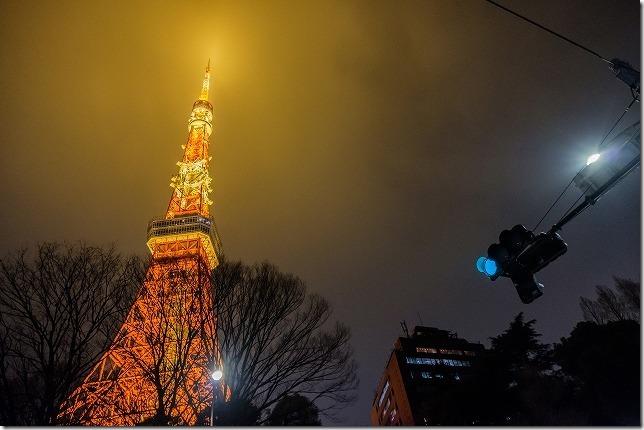 東京タワー前の信号機