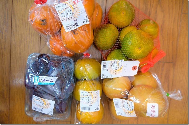 道の駅「原鶴」のフルーツ(梨・柿・みかん・ぶどう)