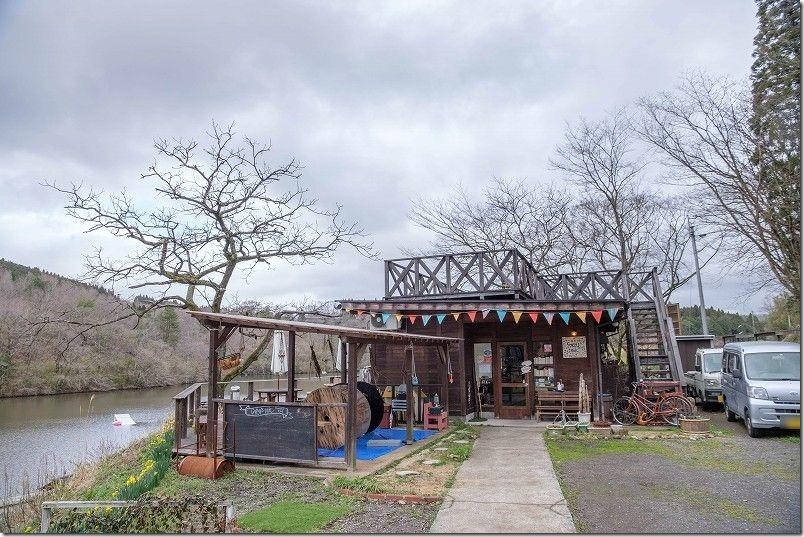 長湯温泉ジプシースマイルカフェでランチ、長湯ダムの畔