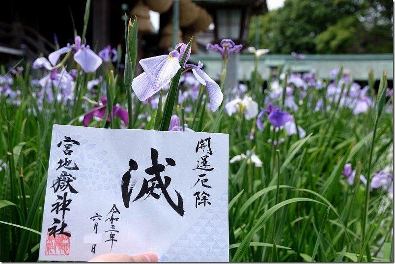 菖蒲祭りの宮地嶽神社の御朱印・滅・鬼滅風